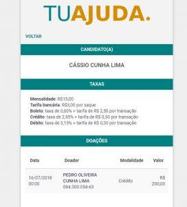 pedro doação 272x300 - Cássio lança vaquinha virtual para bancar campanha à reeleição; saiba quem foi o primeiro doador