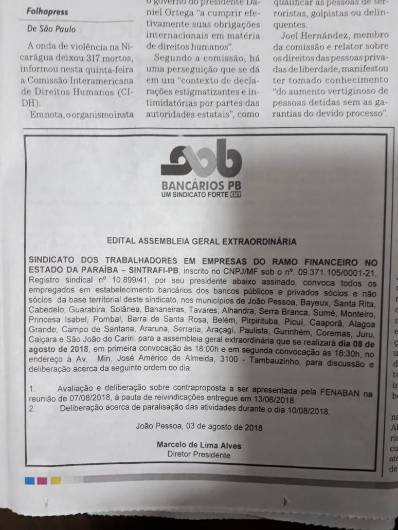 IMG 20180803 WA0030 - Bancários podem iniciar greve às vésperas das eleições