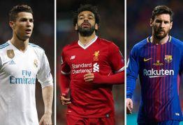 Salah, Cristiano Ronaldo e Messi são indicados a prêmio da Liga dos Campeões