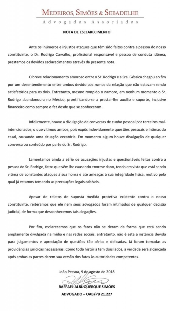 WhatsApp Image 2018 08 10 at 1.22.14 PM 1 - GÉSSICA APARECEU: Estudante de Patos acusada de traição revela horror de agressão sofrida por ex no México - VEJA VÍDEO!