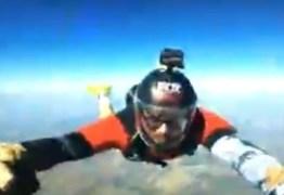 Vídeo mostra salto de paraquedista momentos antes de ser atropelado por carreta em rodovia; Assista