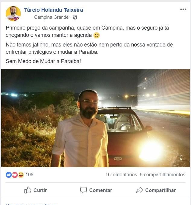 """00 28 - """"NÃO TEMOS JATINHO"""": Tárcio Teixeira, candidato ao Governo da Paraíba, fica no prego na estrada"""