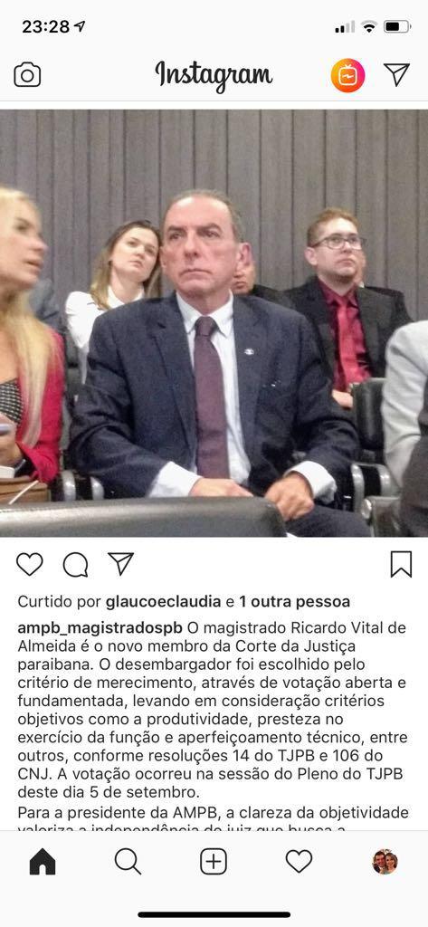 29f789ed 4eaf 444d 843c 90c09b8d3aff - Com mais de mil pontos Juiz Ricardo Vital é escolhido o novo desembargador do Tribunal de Justiça da Paraíba - VEJA VÍDEO