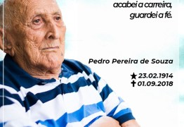 Morre aos 104 anos Pedro Pereira, pai do ex-prefeito Expedito Pereira, em Bayeux