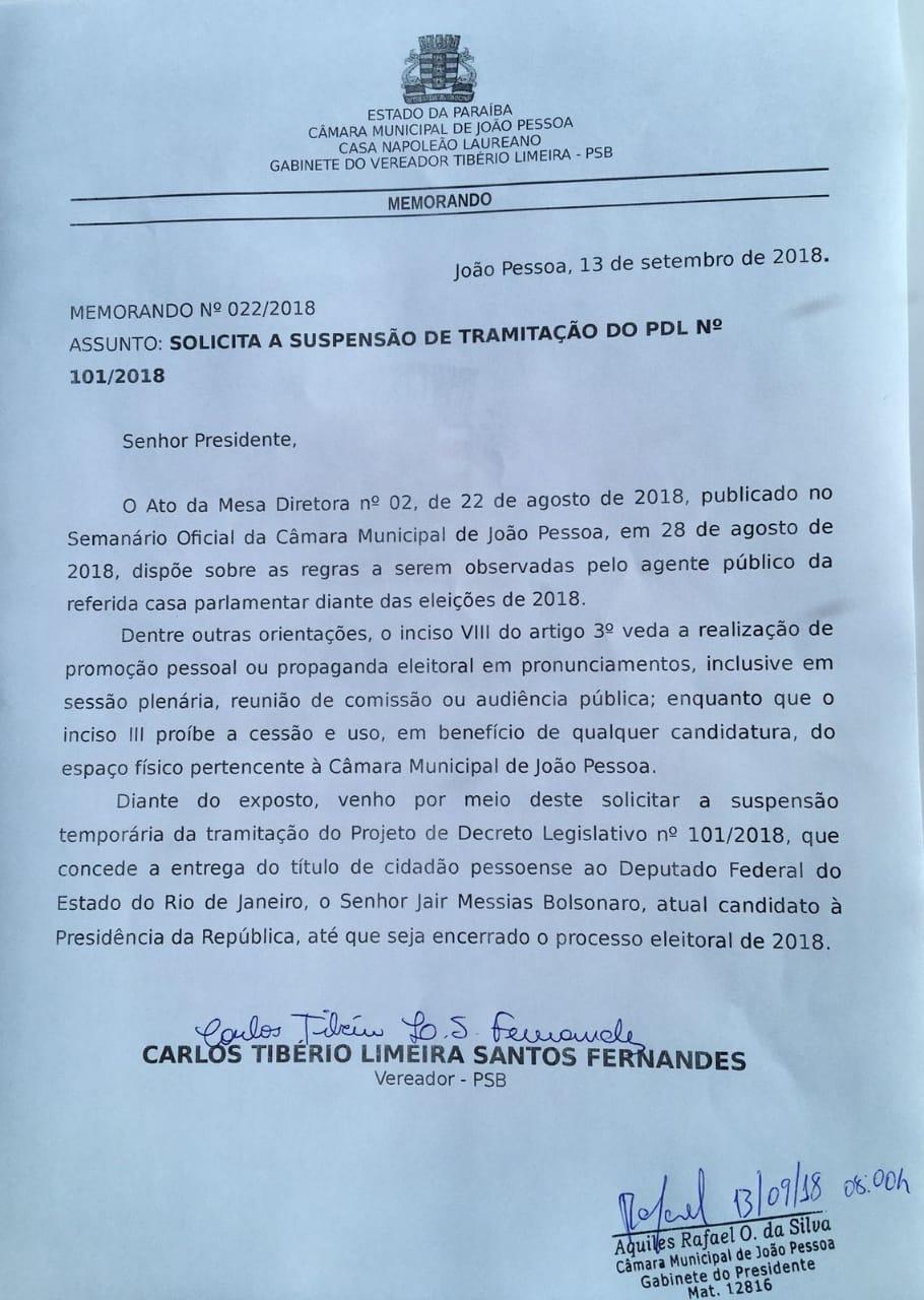 IMG 20180913 WA0048 - Tibério Limeira apresenta recurso e suspende votação de homenagem a Bolsonaro