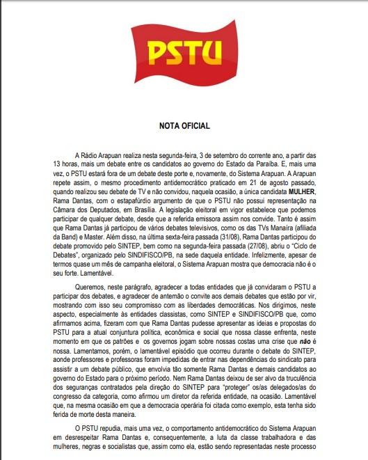 Nota pstu 2 - PSTU lança nota de repúdio pela exclusão de Rama Dantas no debate na Arapuan