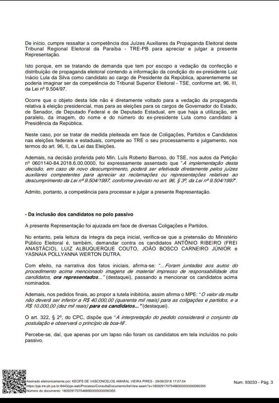 Screenshot 20180929 190215 e1538259591417 - MULTAS DE ATÉ R$ 65 MIL: TRE proíbe candidatos e partidos de utilizarem material de campanha com Lula como candidato a presidente