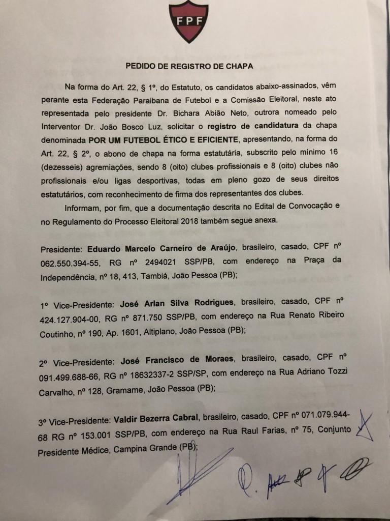 WhatsApp Image 2018 09 12 at 4.45.15 PM - ELEIÇÃO NA FPF: Registro de chapa de Eduardo Araújo confirma tese de chapa única