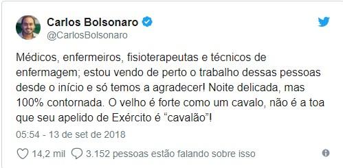"""tweet - Filho de Bolsonaro diz que pai """"cavalão"""" contornou """"noite delicada"""""""