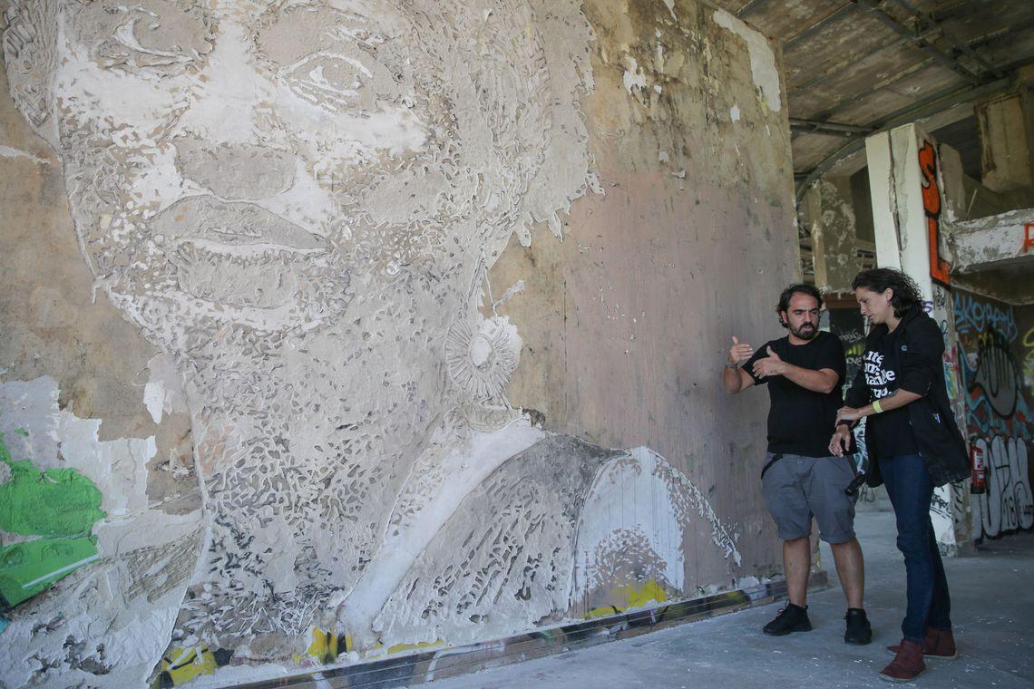 vhils homenageou marielle lusa tiago petinga - Marielle é homenageada por artista português