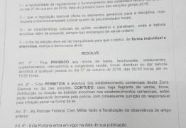 PATOS E QUIXABA: Juíza Eleitoral proíbe venda de bebida alcoólica até às 18h deste domingo