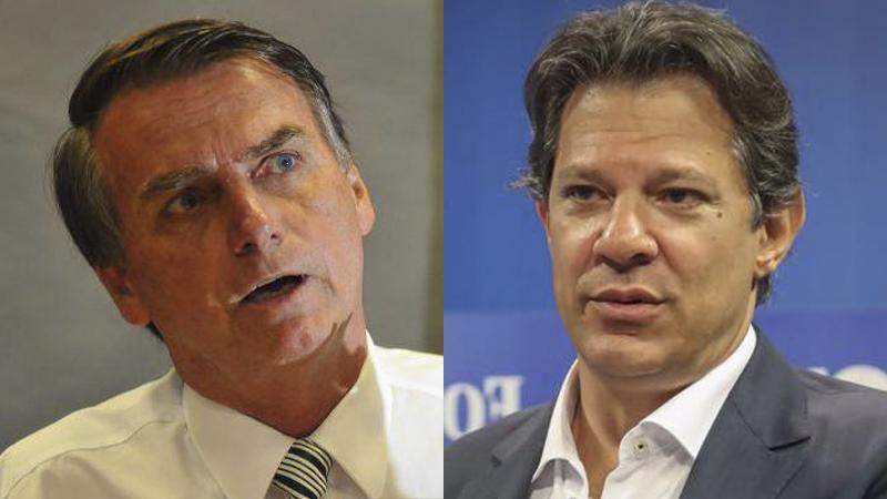 Bolsonaro e haddad 2 - PESQUISA CRUSOÉ / PARANÁ PESQUISAS: Bolsonaro lidera com 34,9% e Haddad tem 21,8%