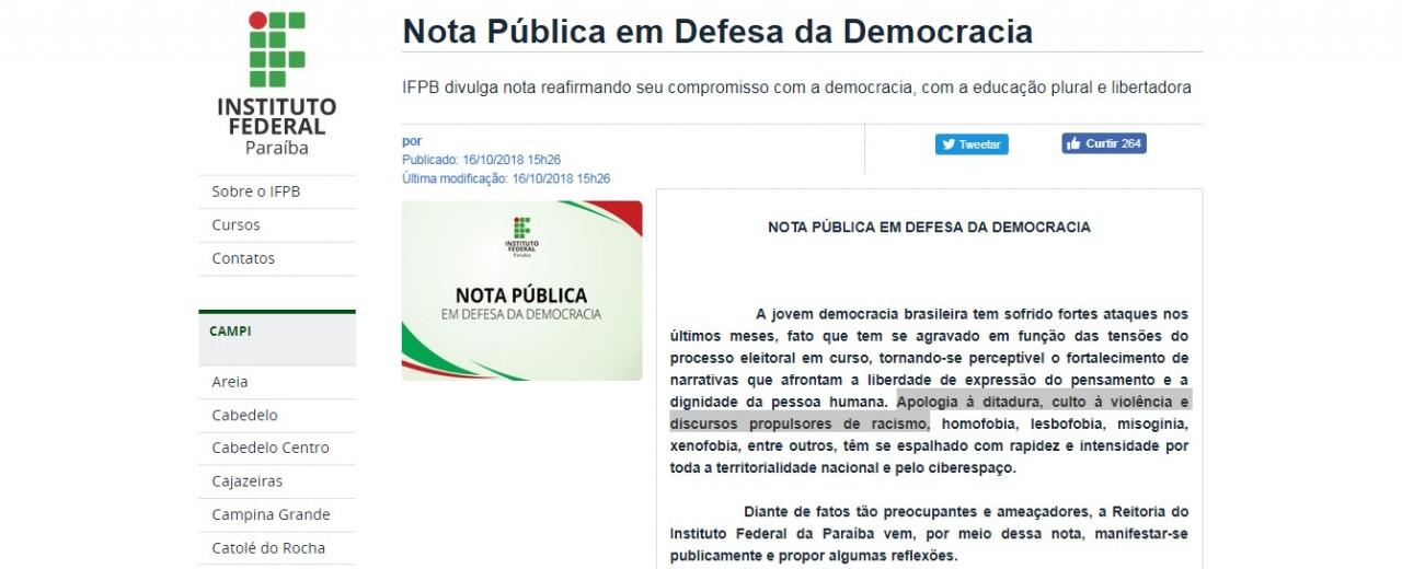 Capturar 24 - 'APOLOGIA À DITADURA, CULTO À VIOLÊNCIA E RACISMO' IFPB divulga nota Pública em Defesa da Democracia