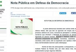 'APOLOGIA À DITADURA, CULTO À VIOLÊNCIA E RACISMO' IFPB divulga nota Pública em Defesa da Democracia