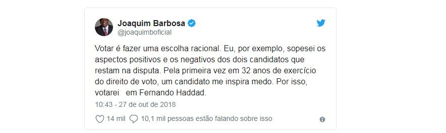 Capturar 42 - Joaquim Barbosa declara voto em Fernando Haddad