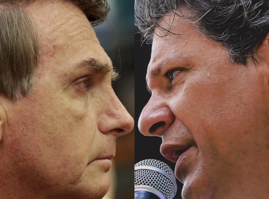Foto Prismada Bolsonaro Haddad 1 868x644 - PRIMEIRA PESQUISA: Haddad cresce 16% em relação ao resultado do 1º turno, mas Bolsonaro está com 8 pontos na frente