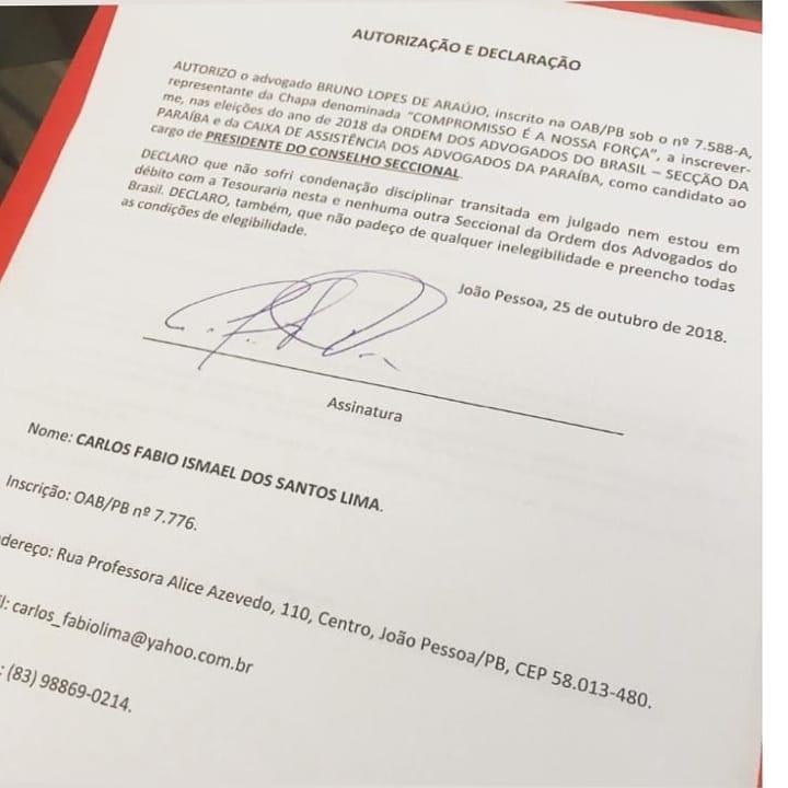 WhatsApp Image 2018 10 25 at 21.43.08 - NOME MANTIDO: Carlos Fábio autoriza advogado a fazer sua inscrição para disputar a Presidência da OAB-PB