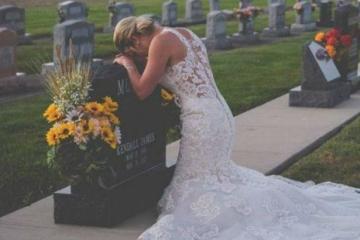 Mulher 'se casa' com noivo morto