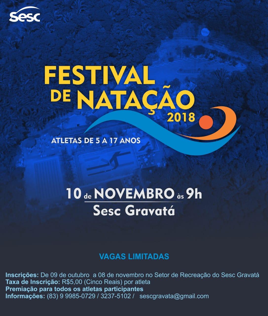 festivaldenatacao2018 - Inscrições abertas para Festival de Natação em João Pessoa