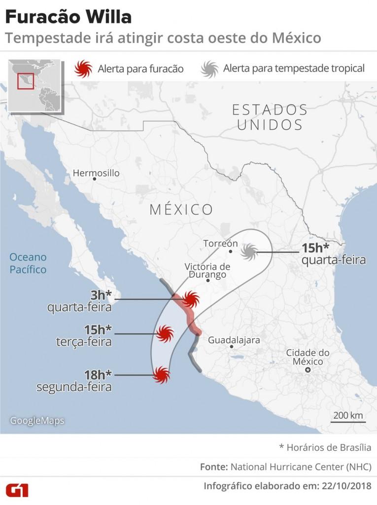 furacao willa - Furacão Willa atinge categoria 5 ao se aproximar do México