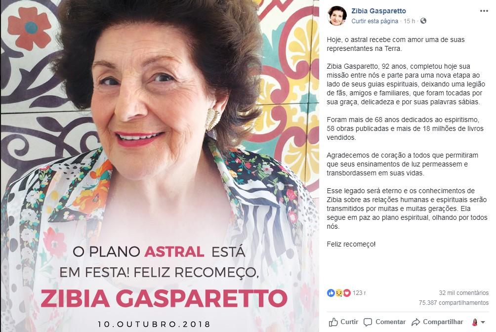 zibia - Morre, aos 92 anos, Zibia Gasparetto