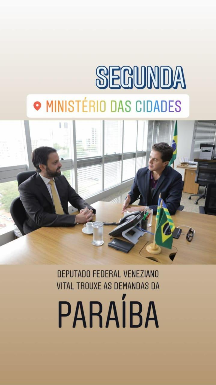 WhatsApp Image 2018 11 06 at 07.24.41 - Veneziano é recebido pelo Ministro das Cidades em Brasília e discute demandas da Paraíba