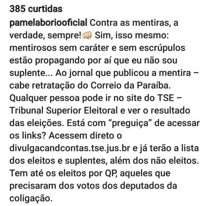 WhatsApp Image 2018 11 11 at 16.23.16 - 'MENTIROSOS SEM CARÁTER E SEM ESCRÚPULOS': Pâmela Bório reclama da direção do PSL e compara gastos de sua campanha com doações para Jullian Lemos
