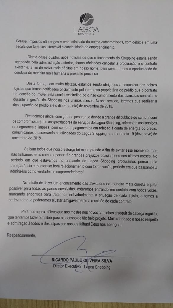 WhatsApp Image 2018 11 13 at 2.13.06 PM - FECHA DIA 19: Diretor diz que gestão levou Lagoa Shopping para 'o fundo do poço'