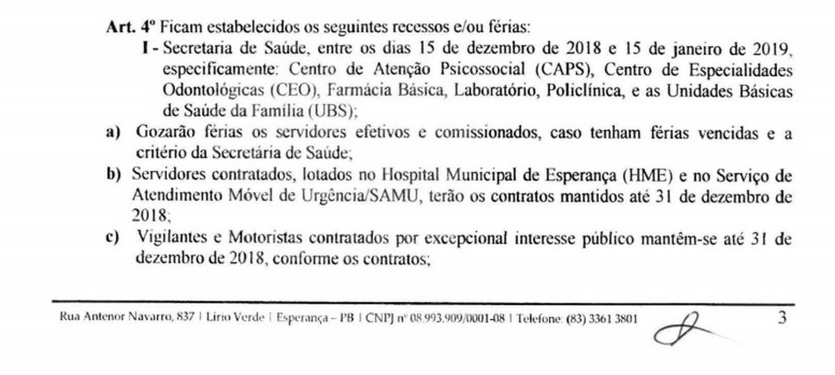decreto 1 - FÉRIAS COLETIVAS: Prefeito de Esperança assina decreto que pode deixar população sem atendimento de saúde