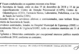 FÉRIAS COLETIVAS: Prefeito de Esperança assina decreto que pode deixar população sem atendimento de saúde