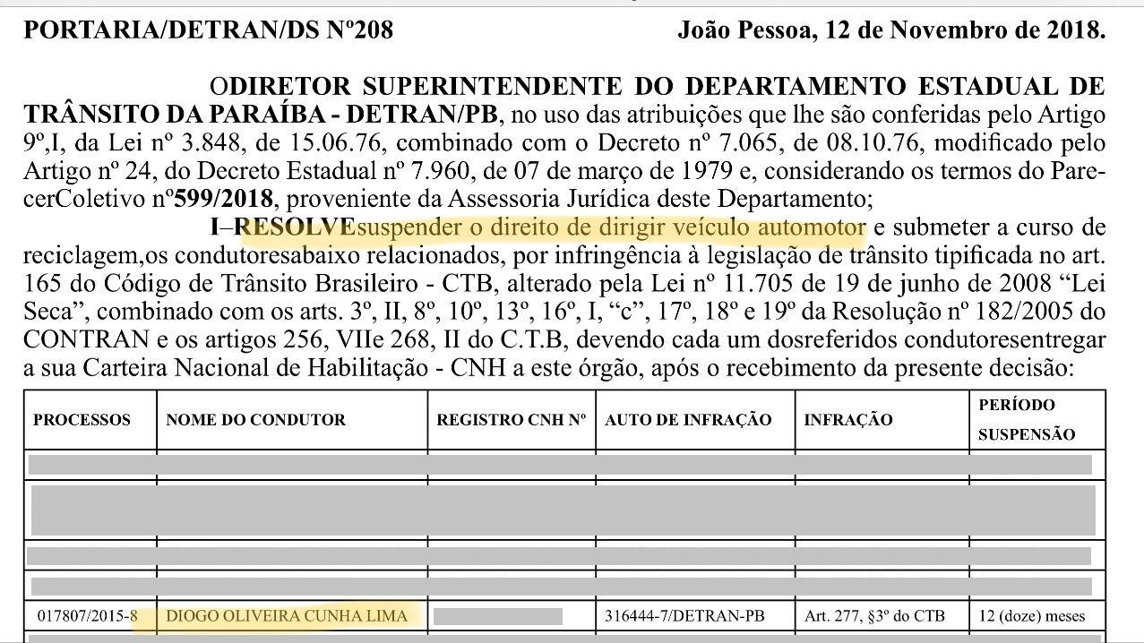 doe diogo1 - Filho de Cássio tem habilitação suspensa por um ano após se recusar fazer exame do bafômetro