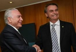 Não há espaço para retroceder, diz Temer a Bolsonaro em cartilha