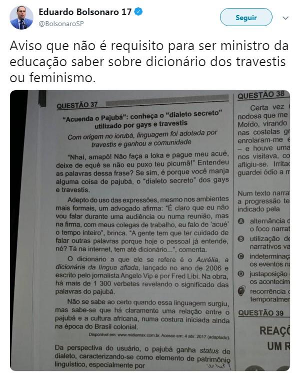 print - 'Não é requisito para ser ministro da educação saber sobre dicionário dos travestis ou feminismo', diz Eduardo Bolsonaro