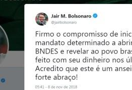 No twitter Bolsonaro confirma que abrirá a caixa preta do BNDES