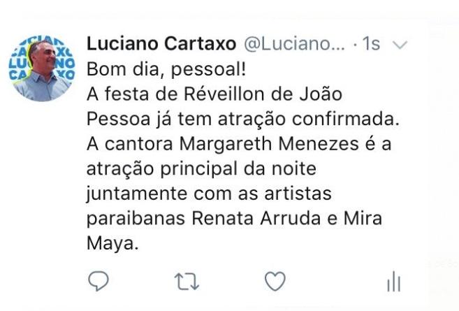 Cartaxo - Margareth Menezes, Renata Arruda e Mira Maya agitarão o réveillon de João Pessoa