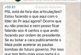 Filho de Bolsonaro revela no WhatsApp articulação contra Maia na Câmara; confira