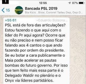 EduardoBolsonaroWhats - Filho de Bolsonaro revela no WhatsApp articulação contra Maia na Câmara; confira