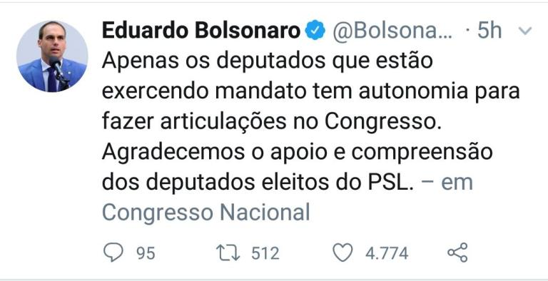 WhatsApp Image 2018 12 06 at 06.22.26 - CRISE BOLSONARISTA: Eduardo Bolsonaro desautoriza 'deputados eleitos'