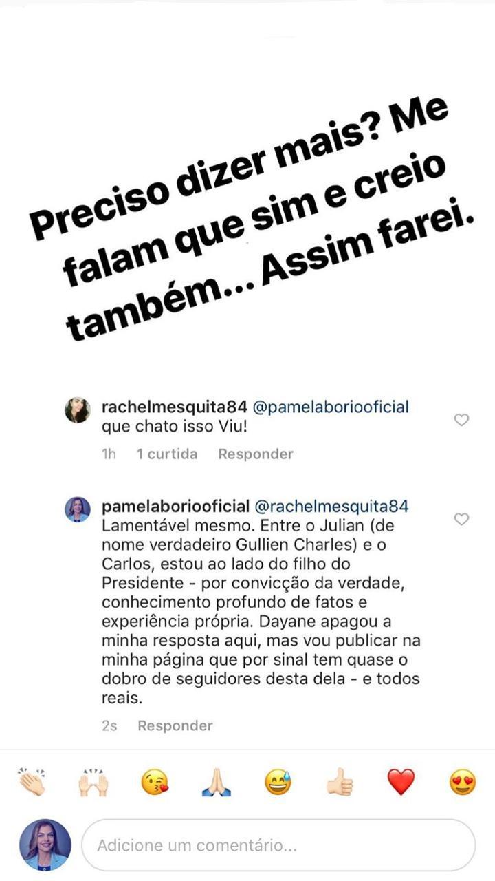 WhatsApp Image 2018 12 06 at 10.57.47 - 'NÃO TEMOS BANDIDO DE ESTIMAÇÃO': Pâmela Bório cutuca Julian Lemos sobre arenga com Carlos Bolsonaro