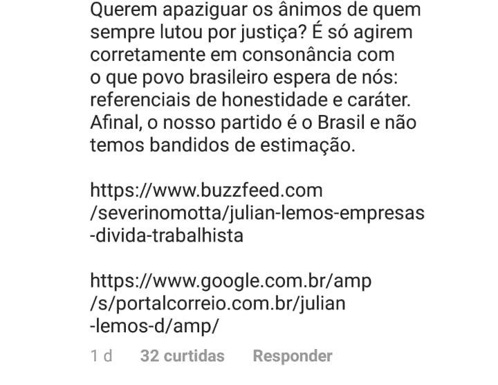 WhatsApp Image 2018 12 07 at 09.57.39 e1544187834174 - 'NÃO TEMOS BANDIDO DE ESTIMAÇÃO': Pâmela Bório cutuca Julian Lemos sobre arenga com Carlos Bolsonaro