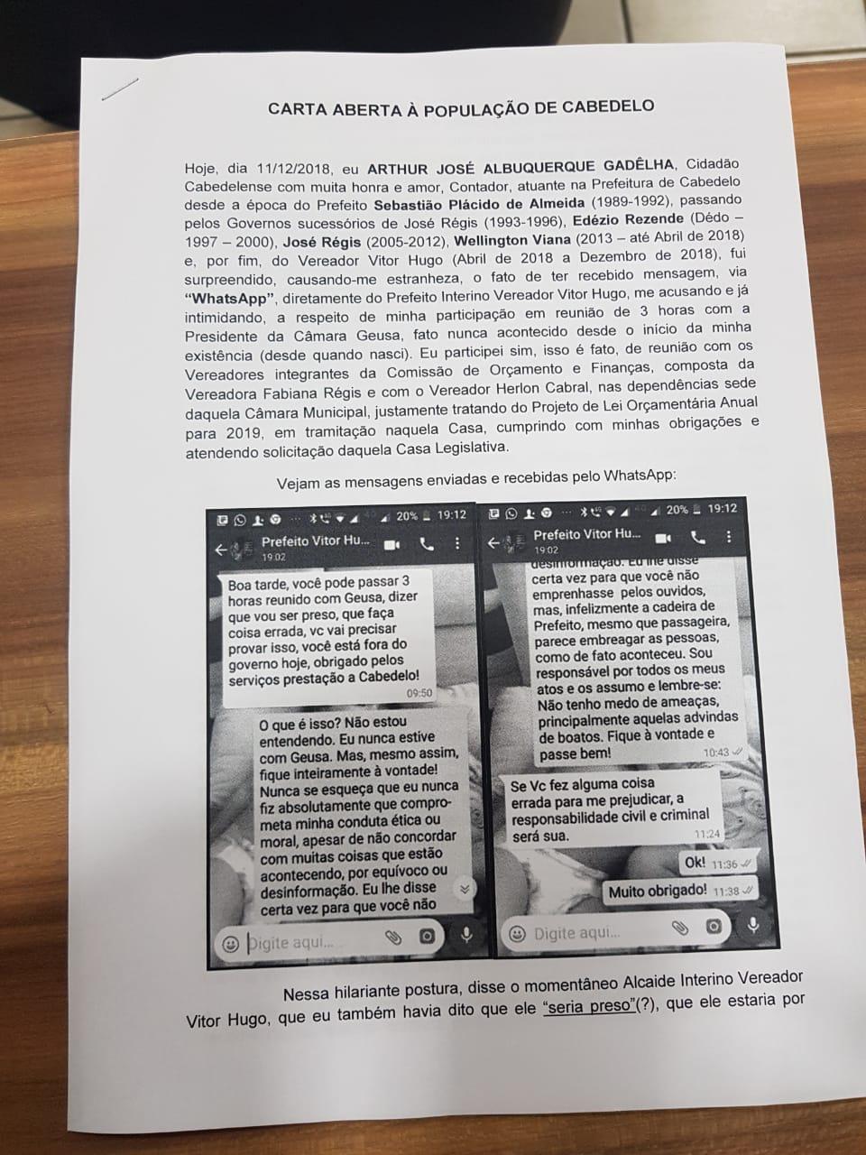 WhatsApp Image 2018 12 11 at 21.28.38 - 'Inconsequente, inoportuno e irresponsável gestor': contador da prefeitura de Cabedelo denuncia ação de intimidação tomada por Vitor Hugo