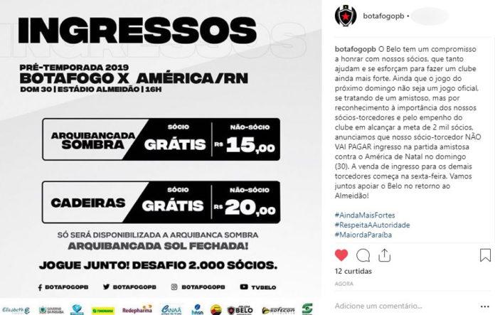 bbb 696x443 - Diretoria do Botafogo-PB desiste de cobrar ingresso a sócios em amistoso
