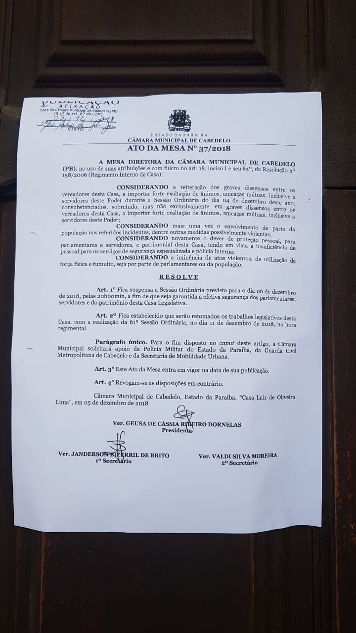c2 - Para evitar 'atos violentos', Geusa Ribeiro suspende sessão na Câmara de Cabedelo