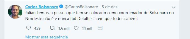 carlos julian - CRISTAL TRINCADO - Bolsonaro curte comentário de Carlos com indireta para Julian Lemos e manda recado: 'Não irão nos separar'