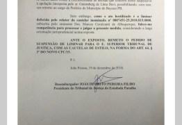 Ministério Público recorre da decisão que favoreceu Berg Lima, mas TJPB remete pedido ao STJ; LEIA