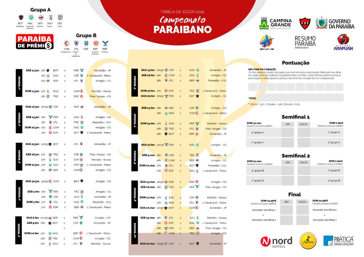 980fbe4f 85d1 4ffe a828 a104e3ae0e09 - Dez clubes disputam o Campeonato Paraibano em 2019; veja tabela completa