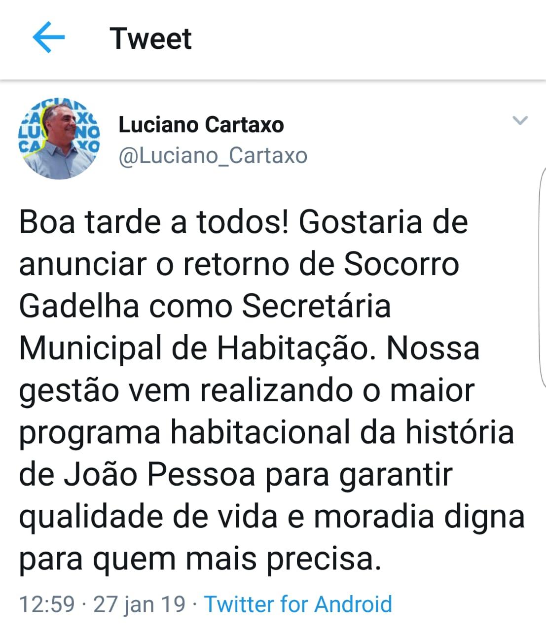 WhatsApp Image 2019 01 27 at 13.20.08 - No Twitter, Luciano Cartaxo anuncia retorno de Socorro Gadelha à pasta da Habitação