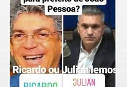 Julian Lemos reproduz enquete com nomes dele e Ricardo Coutinho na disputa pela Prefeitura de João Pessoa