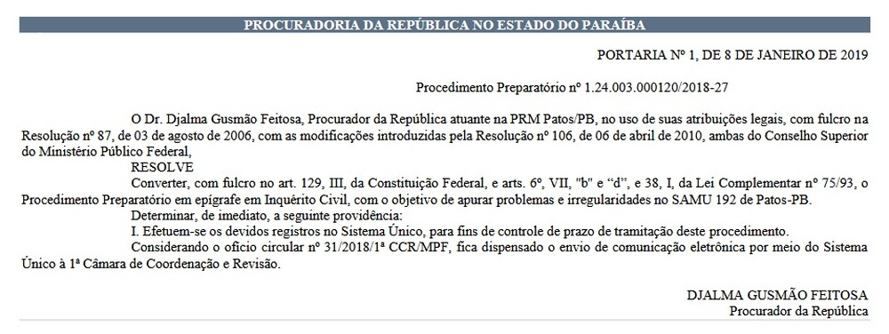 inquerito samu patos - INQUÉRITO CIVIL: MPF investiga irregularidades no funcionamento do Samu de Patos