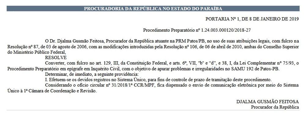 inquerito samu patos - INQUÉRITO CIVIL: MPF investiga irregularidades no funcionamento do Samu de Patos